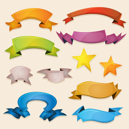 Illustration of a set of various design fresh colorful banners, ribbons, swirls, awards and scrolls to use for example as elements inside ui game Vector