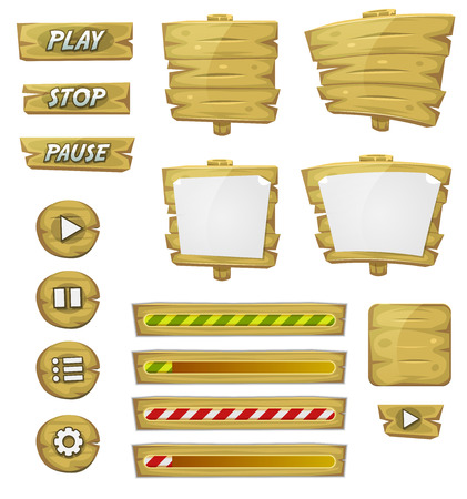 button icons: Illustration of a set of various cartoon design ui game wooden elements including banners, signs, buttons, load bar and app icon background Illustration