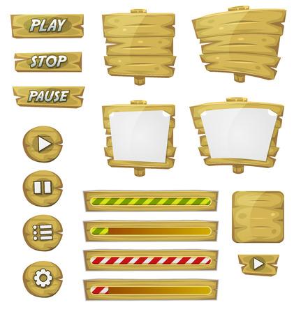 Ilustración de un conjunto de varios elementos de madera de dibujos animados de diseño de juegos ui incluyendo banners, letreros, botones, barra de carga y aplicación icono de fondo