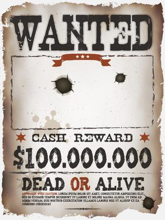 Illustration eines Vintage alte Steckbrief-plakat-Vorlage, mit tot oder lebendig Inschrift, Geldprämie wie in Far West und West-Filme