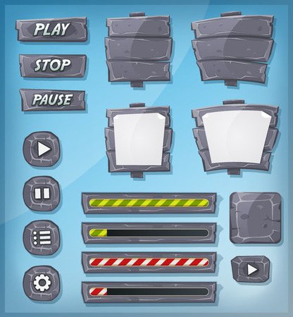 Illustration of a set of various cartoon design ui game stony and rock elements including banners, signs, buttons, load bar and app icon background