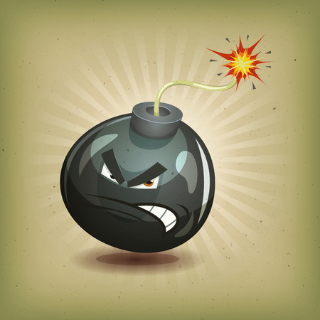 Illustration of a cartoon angry black bomb icon character about to explode with burning wick, on vintage retro background. You can easily separate bomb layer from the background