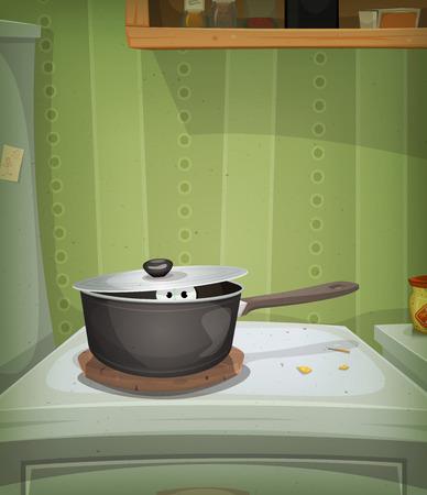 cocina caricatura: Ilustración de un cartel divertido con la escena de la cocina de casa de dibujos animados y el ratón, animal, doméstico o de los ojos de la criatura en el interior de la estufa en busca de comida