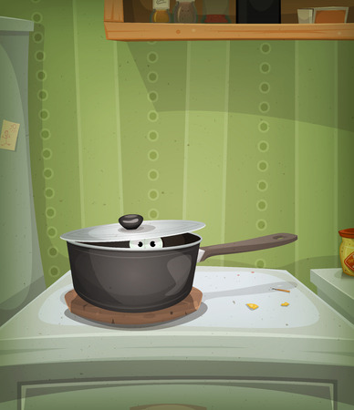 Illustration of a funny poster with cartoon home kitchen scene and mouse, animal, pet or creatures eyes inside stove looking for food