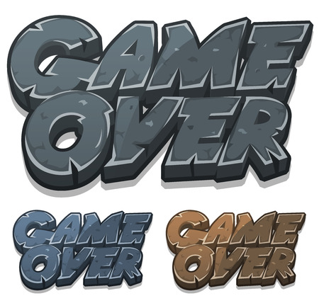 game over: Illustration of a set of cartoon stony and rock game over icons for user interface game Illustration