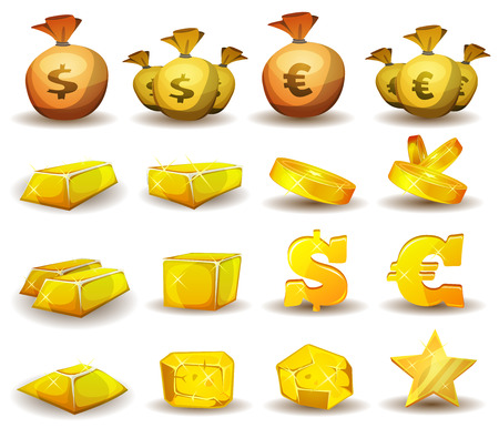 cartoon bank: Illustration of a set of glossy and bright cartoon gold and credits icons, ingot and symbols of currency, for game user interface
