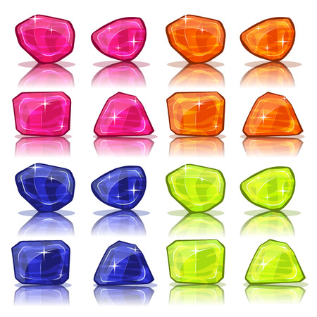 precious stone: Illustration of a set of glossy and bright cartoon gems stones, minerals and jewels icons, for game user interface