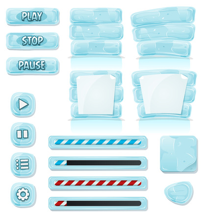 Illustration of a set of various cartoon design ui game icy and glass elements including banners, signs, buttons, load bar and app icon background Vector