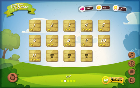 gui: Illustration of a funny spring graphic game user interface background, in cartoon style with basic buttons and functions, status bar, vintage retro background, for wide screen tablet
