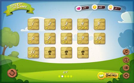 elementi: Illustrazione di una molla divertente gioco grafico interfaccia utente di sfondo, in stile cartone animato con pulsanti di base e funzioni, barra di stato, annata retr� sfondo, per tablet wide screen