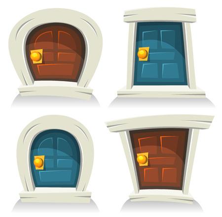 doorframe: Ilustraci�n de un conjunto de historietas de dibujos animados divertidos peque�as puertas redondeadas, de color rojo, azul y cerrados