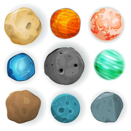 Ilustración de un conjunto de varios globos de planetas, lunas, asteroides y tierra aislados en blanco para el fondo de ciencia ficción