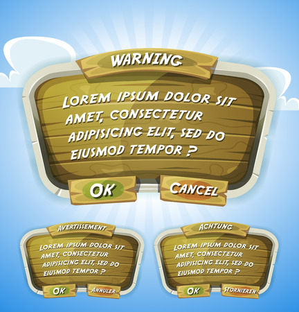 games: Illustration of a funny cartoon design ui game wooden information panel including text and buttons, for terms and conditions agreement app on tablet pc, with spring blue sky background Illustration