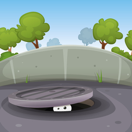 llustration of a funny cartoon urban scene with human, animal or creature characters eyes looking from a manhole