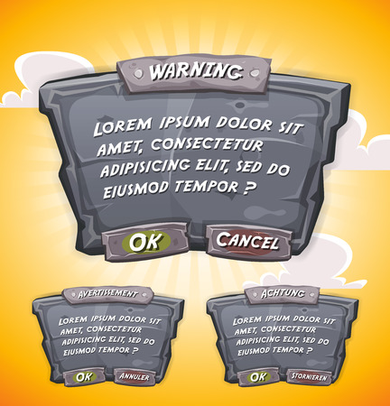 stony: Illustration of a funny cartoon design ui game stony and rock information panel including text and buttons, for terms and conditions agreement app on tablet pc, with orange yellow summer sky background