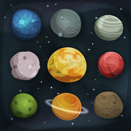 Illustration of a set of various comic planets, moons, asteroid and earth globes on scifi starry space background Illustration