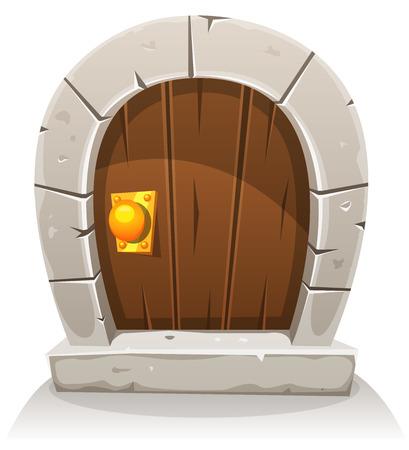 Ilustración de un hobbit cómico como la pequeña puerta de madera curvada divertida con marco de la puerta de piedra