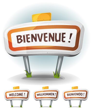 willkommen: Illustration of a cartoon comic french town road sign in french, german, spanish and english language