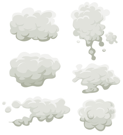 Illustration of a set of cartoon clouds, smoke patterns and fog icons
