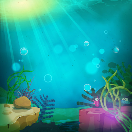 ocean cartoon: Illustration of a cartoon funny submarine ocean landscape with aquatic plants, cute fishes characters and sea wildlife