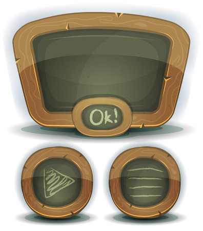 pedagogics: Illustration of a set of design school education blackboard with buttons and interface elements for ui pedagogics software on tablet pc and other devices