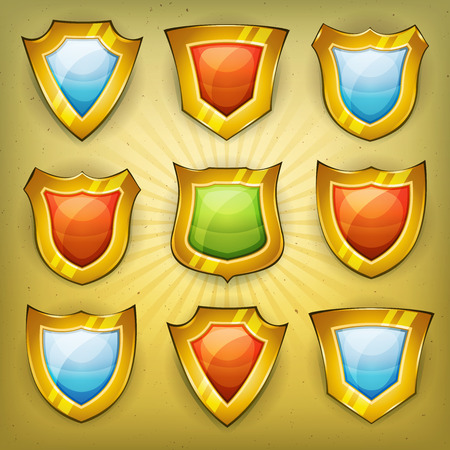 knighthood: Illustration of a set of cartoon design shields and security badges icons for ui game, on vintage retro and grunge background
