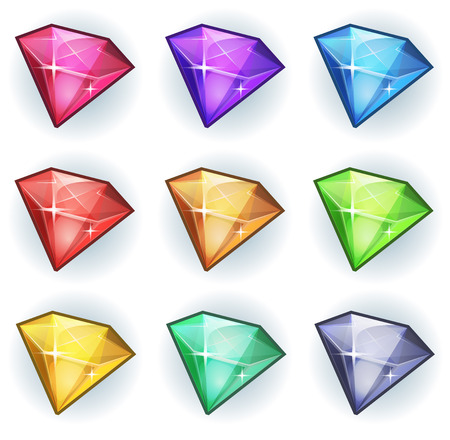 Illustratie van een reeks van glanzende en heldere cartoon edelstenen, diamanten, mineralen en juwelen iconen, voor game user interface