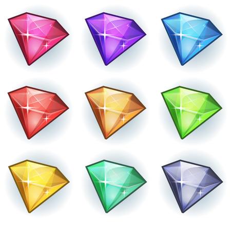 Ilustración de un conjunto de brillantes y brillantes gemas de dibujos animados piedras, diamantes, minerales y joyas iconos, para la interfaz de usuario del juego Foto de archivo - 29166648