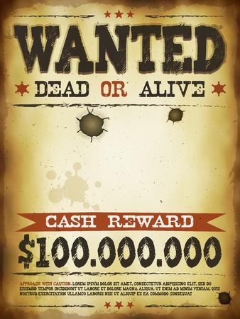ヴィンテージ古い募集のプラカード ポスター テンプレート、死者はオアアライブ碑文、報酬の現金での図のように遠く西とウエスタン映画
