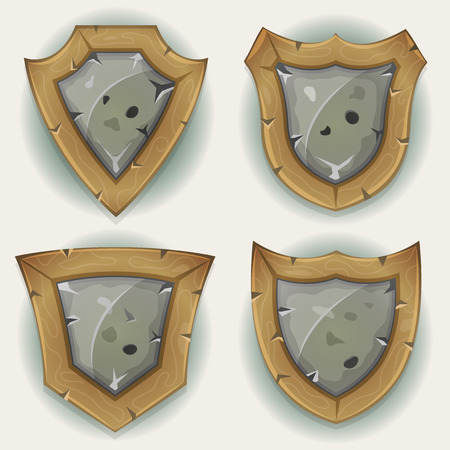 gui: Illustration of a set of cartoon design warrior shields and security badges icons, made of stones and wood for ui game