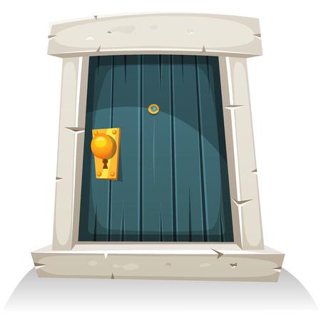 Ilustración de una pequeña puerta de madera curvada cómica de dibujos animados con marco de la puerta de piedra