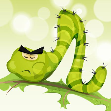 oruga: Ilustración de un personaje gusano oruga verde de la historieta divertida, comer y masticar una hoja de ensalada en la naturaleza verde de fondo abstracto