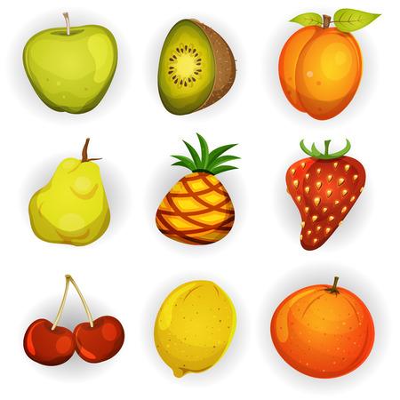 marmalade: Illustrazione di una serie di cartoni animati primaverili ed estivi di frutta e ingredienti per le ricette alimentari e marmellata