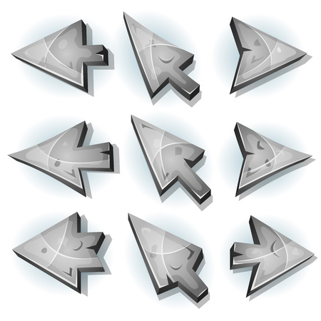 right arrow: Illustration of a set of stone and rock computer icons, cursor and arrows signs