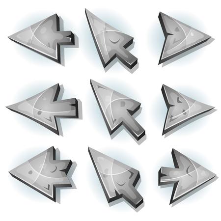 flecha derecha: Ilustración de un conjunto de piedra y roca informáticos iconos, cursor y flechas signos