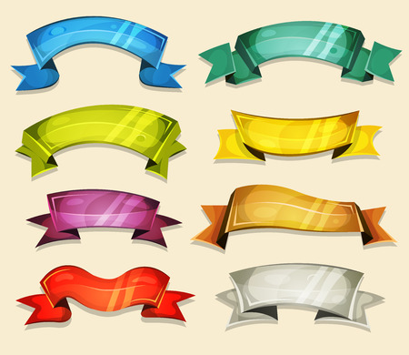 Illustration of a set of various cartoon fresh colorful circus banners, ribbons, swirls, awards and scrolls to use as design elements inside ui game 向量圖像