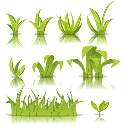 grass: Illustration of funny set of cartoon spring or summer grass leaves, lawn and green plants Illustration