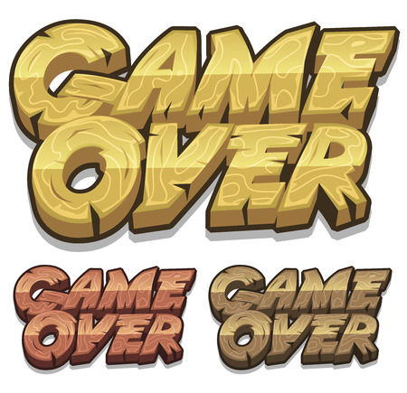 Illustration of a set of cartoon wood game over icons for game user interface