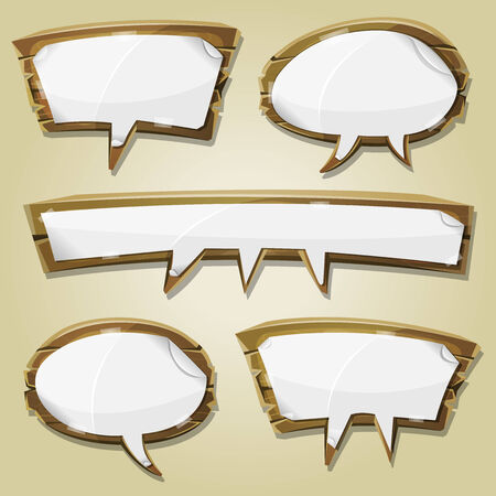 bubble sheet: Illustration of a set of cartoon paper blank signs on comic wooden speech bubbles, for advertisement messages or game ui graphic design Illustration
