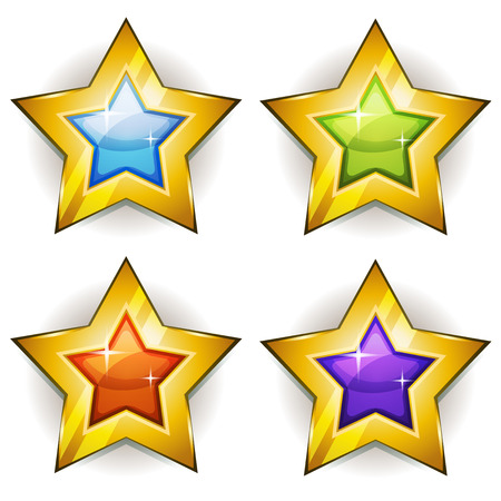 stars cartoon: Illustration of a set of funny cartoon shiny and bright golden stars icons for game ui Illustration