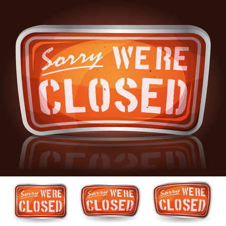 Illustration of a cartoon vintage shiny sorry were closed sign icon, for website or game ui, available on black or white background
