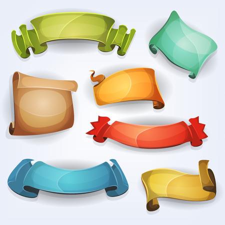 Ilustración de un conjunto de diferentes dibujos animados divertidos banderas coloridas frescas de circo, cintas, remolinos, premios y rollos de pergamino diseñado para el anuncio o juego ui
