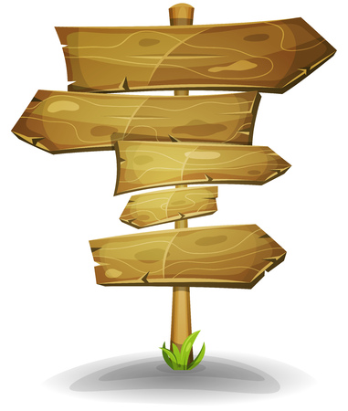 Illustration of a cartoon comic wooden road and transportation arrows signs, on stake for advertisement messages or game ui graphic menu design