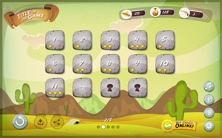 Illustratie van een grappige mexicaanse westelijke woestijn grafische spel gebruikersinterface achtergrond, in cartoon stijl met eenvoudige knoppen en functies, statusbalk, voor breedbeeld tablet