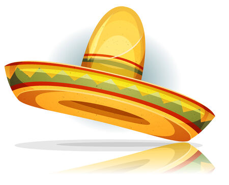Illustration of a funny cartoon mexican sombrero with vintage texture