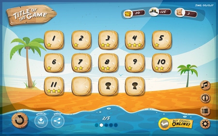 Illustration of a funny summer tropical beach graphic game user interface background, in cartoon style with basic buttons and functions, status bar, for wide screen tablet Illustration