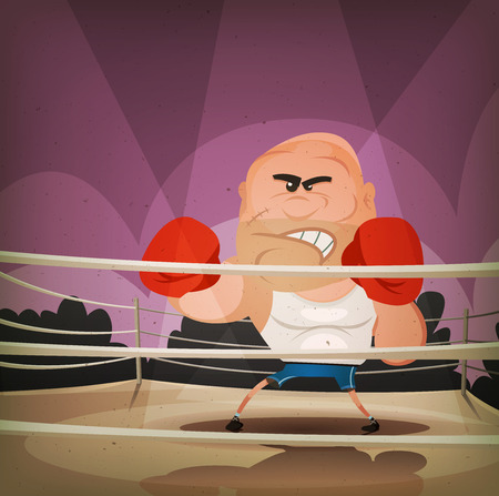 knock out: Illustration of a cartoon champion english boxer or fight sports hard-boiled character, challenging on the ring with crowd behind