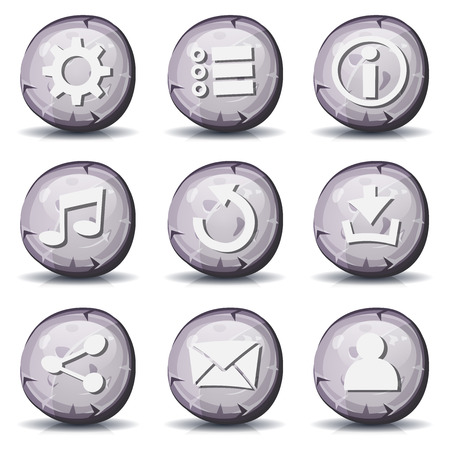stone tablet: Illustration of a set of cartoon comic stone and rock ui game icons and buttons elements, with main user interface app functions
