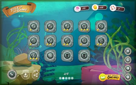 juego: Ilustraci�n de un mar divertido juego submarino interfaz gr�fica de usuario de fondo, en el estilo de dibujos animados con los botones y funciones b�sicas, barra de estado, para la tableta de pantalla ancha