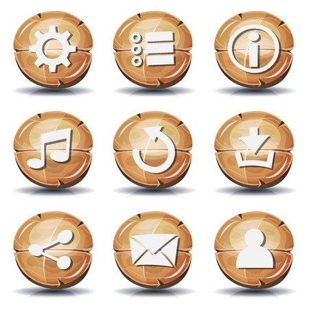 Illustration of a set of cartoon comic wooden gui icons and buttons elements, with main user interface app functions